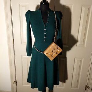 Vintage- St.John, Forest Green, knit A-line dress